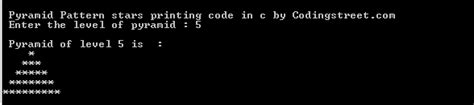 star pattern in c code pyramid star pattern printing program in c codingstreet