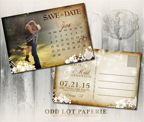 The Date Calendar Card For Bridesmaid Box Free Template by Invitation Printable Rustic Save The Date Postcard