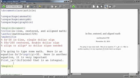 latex tutorial new line latex tutorial 08 the difference between in line centered