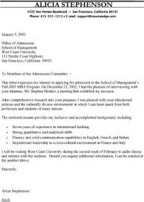 Mba Cover Letter Sle by Letter Of Application Letter Of Application Mba Sle
