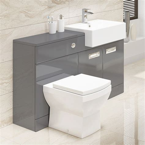 Combination Bathroom Furniture Cuba Grey Right Combination Unit