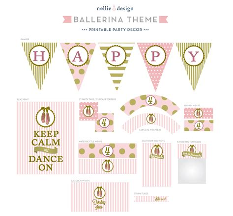 printable birthday decorations nellie design ballerina birthday party