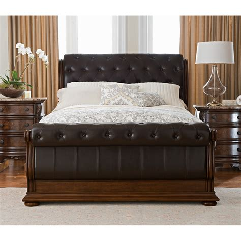 King Sleigh Bedroom Set Monticello 6 King Sleigh Bedroom Set Pecan Value City Furniture