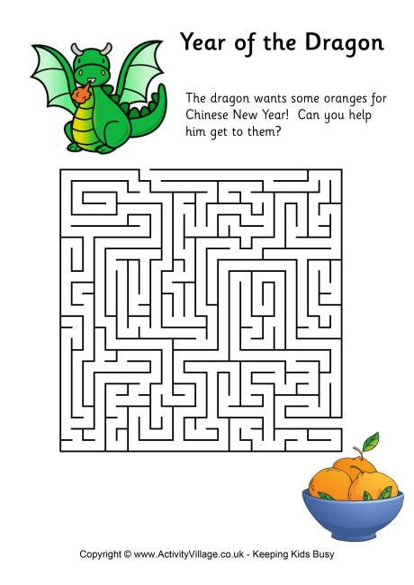 printable dragon mazes year of the dragon maze 2