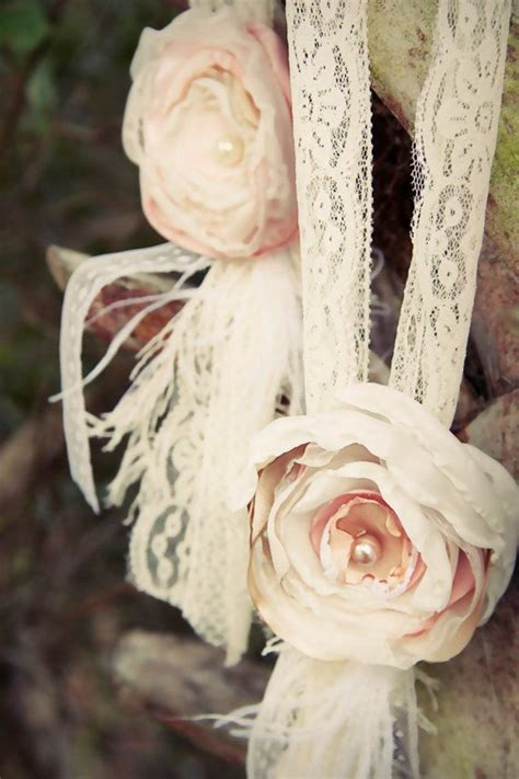Hanging wedding decor chair tie fabric flower lace