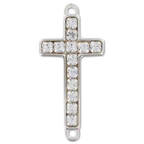Rhinestone Cross Silver Ring 925 sterling silver spacer rhinestones cross 2 rings