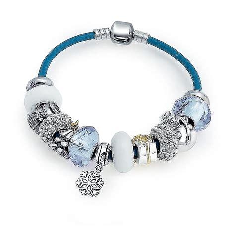 Snow Christmas Sterling Blue Leather Charm Bracelet Pandora Compatible