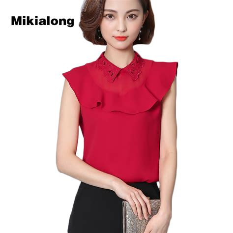 Essential Blouse At2017 2017 ruffle top hollow perter pan collar sleeveless chiffon blouse femme work wear