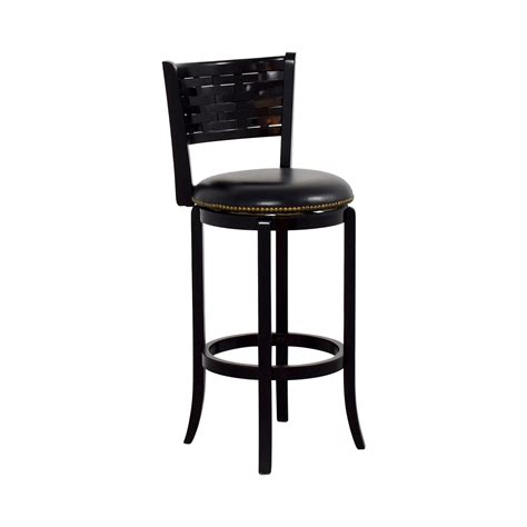 Black Nailhead Bar Stools by 90 Black Leather With Nailhead Swivel Bar Stool