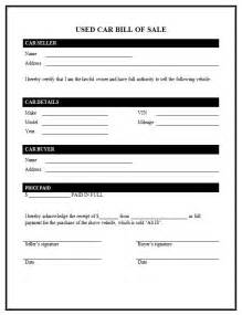 bill of sales template for car used car bill of sale template