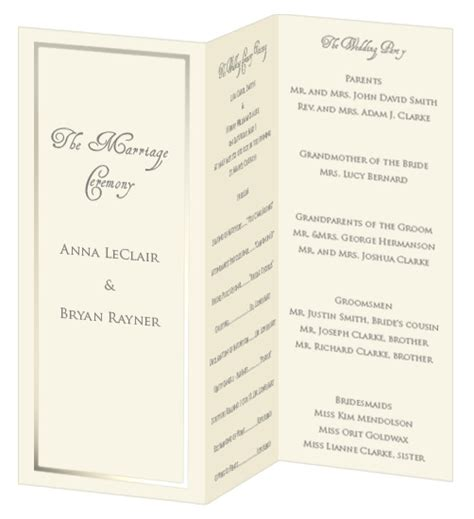 Tri Fold Program Paper - foil border wedding programs print your own foil border