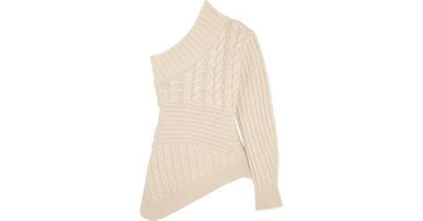 one shoulder knit sweater burberry one shoulder cable knit sweater in white