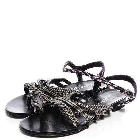 chain sandals chanel tweed chain flat sandals 38 black 90869