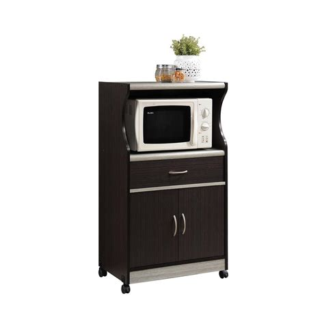 hodedah 1 drawer chocolate grey microwave cart hik77 choc