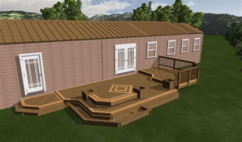 Mobile Home Deck Plans | nice mobile home deck design plan showing taupe rooftop