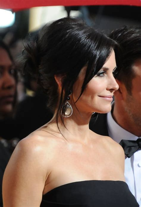 updo over 40 courteney cox french twist updo hairstyle hairstyles weekly