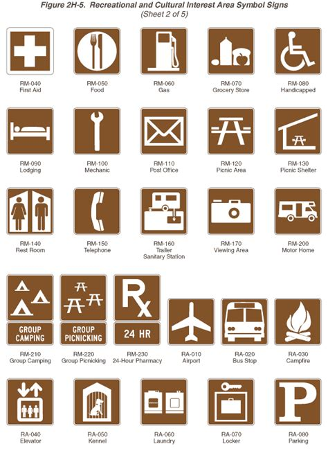 the color of a recreation area sign is fhwa mutcd 2003 edition revision 1 figure 2h 5 2