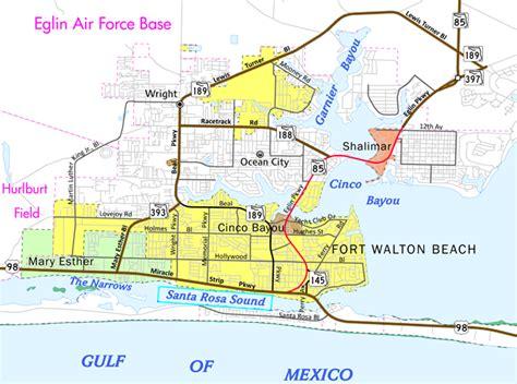 ft walton florida map florida aaroads u s 98 east okaloosa county
