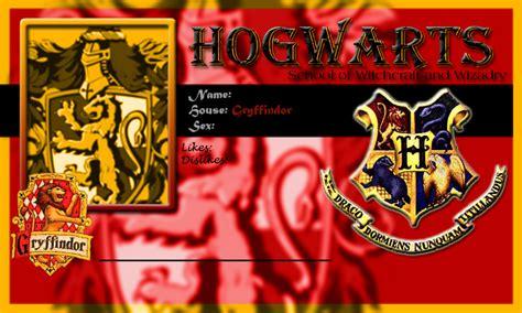Hogwarts Id Card Template by Hogwarts School Card Gryffindor Template By Demonfoxnaruto