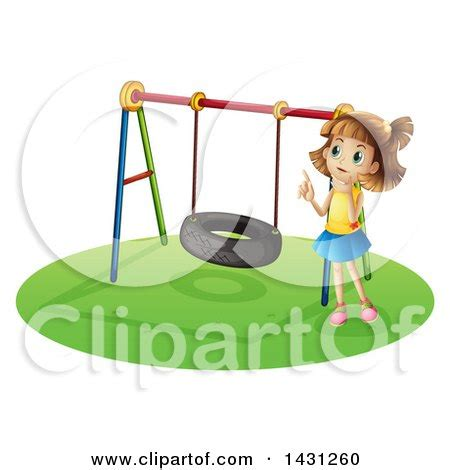swing girl recess cartoon of children playing on a school playground at