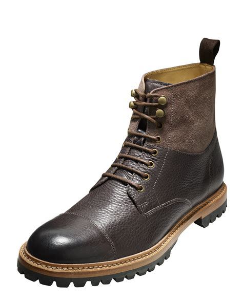cole haan boots mens cole haan judson leather cap toe boot in brown for