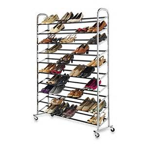 60 pair rolling shoe rack in chrome bed bath beyond