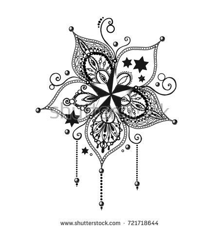 mandala tattoo hand drawn lotus flower stock illustration