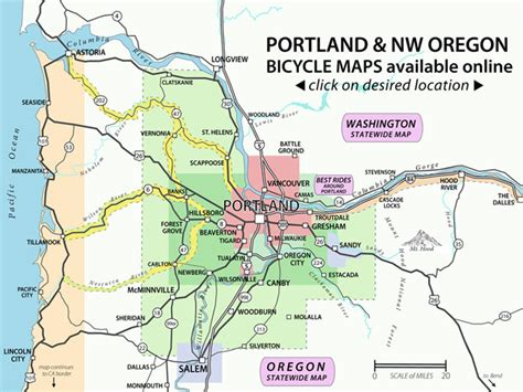 portland on map of oregon recreational bicycling rides maps the city of portland