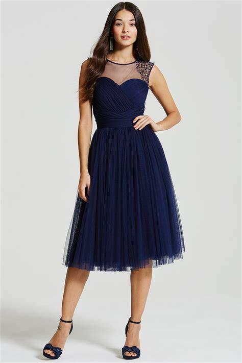 Midi Dress navy embellished sheer midi dress