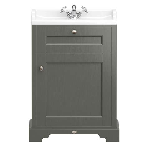 Traditional Bathroom Vanity Units Uk Downton Traditional Vanity Unit 600mm Wide Charcoal