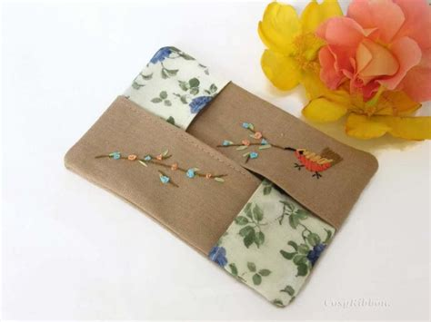 Tissue Organizer Colored 3 pocket tissue holder linen tisue kleenex or handkerchief embroidered tissue