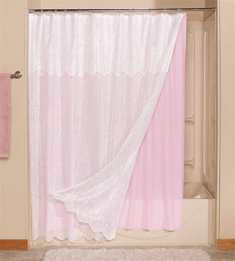 lace shower curtains miles kimball lace shower curtain with attached valance