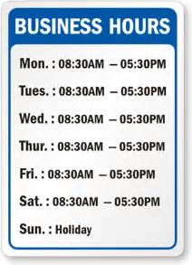 business hours template business hours signs