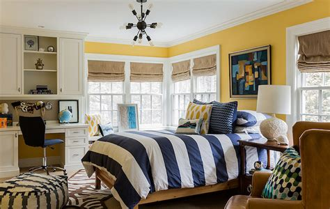 navy and yellow bedroom striped duvet contemporary boy s room katie