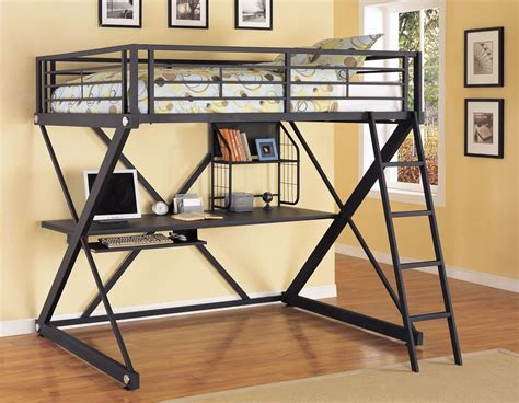Bunk Loft Bed With Desk Powell Z Bedroom Size Metal Loft Bed With Study Desk