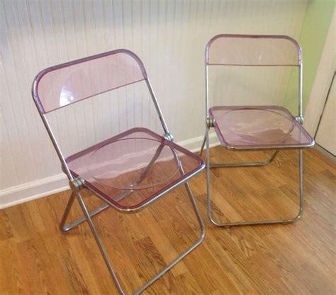 Pink Lucite Chair by Mid Century Pink Lucite Acrylic Folding Chairs Pair By