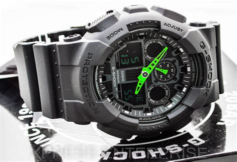 Gshock Time New Black Green 1 Casio Gshock Neon Green Ga100 1a3 Review How To Set Time