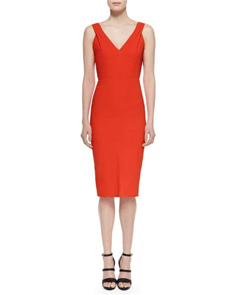 Nm Rdr Dress Cutout donna karan belted v neck cutout dress