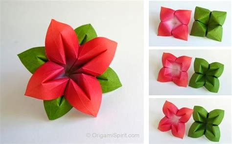 Origami Flower Leaves - how to make an origami flower and leaves great for a