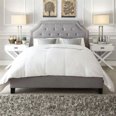 gray upholstered bed homesullivan monarch grey king upholstered bed