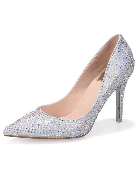 bling sliver lace court prom shoes with closed toe ala