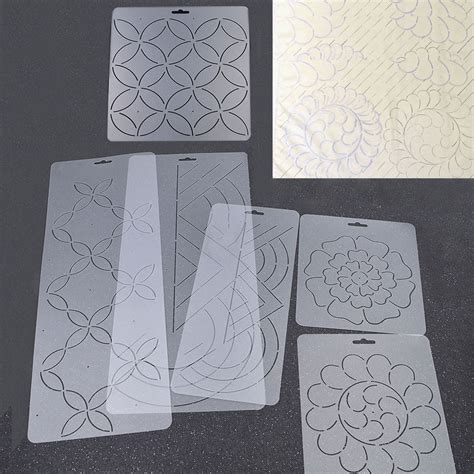 transparent plastic quilting stencil diy stitch craft coin