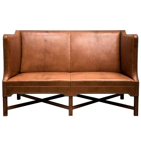 2 1 2 person sofa in goatskin on cuban mahogany