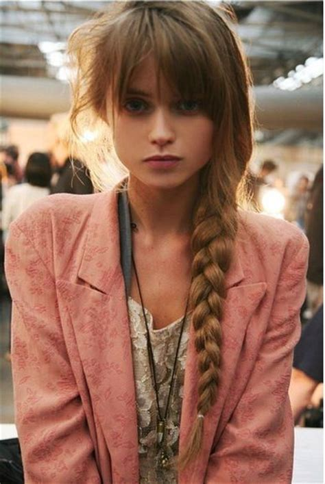bangs braids and long hairstyles side braid with bangs hair pinterest