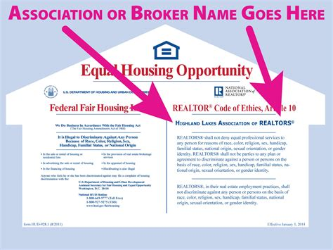 housing opportunities realtor 174 equal housing opportunity posters rts5034