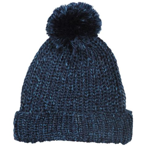 mens knit hats s cable knit bobble hat blue clothing zavvi