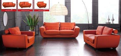 modern orange sofa orange top grain leather modern sofa w optional chair