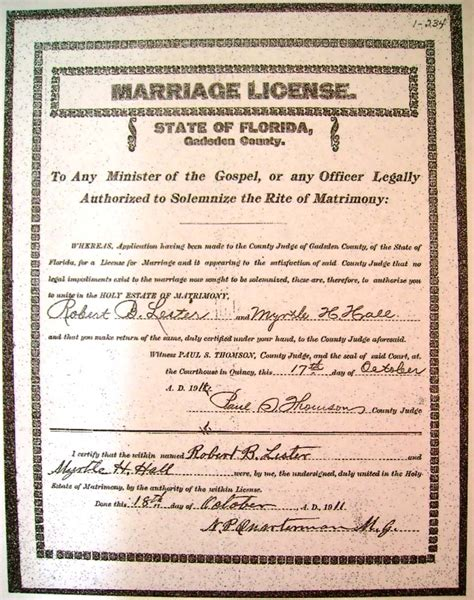 Florida Marriage Records Marriage License Images Search