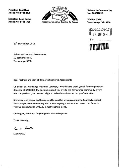 Thank You Letter For Library Donation Firm Profile Belmores Chartered Accountants Yarrawonga Vic Australia