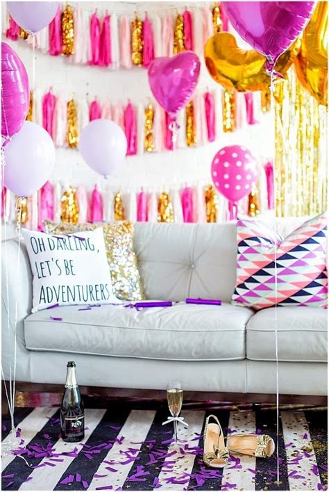 hanging party decor for the perfect summer bash bachelorette party decor idea pink white gold tassels